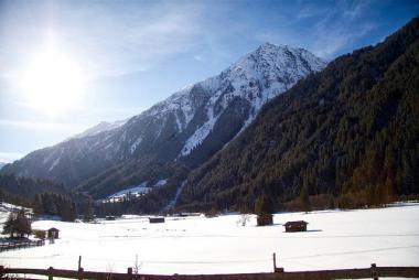 Rakouské údolí Stubaital v zimě